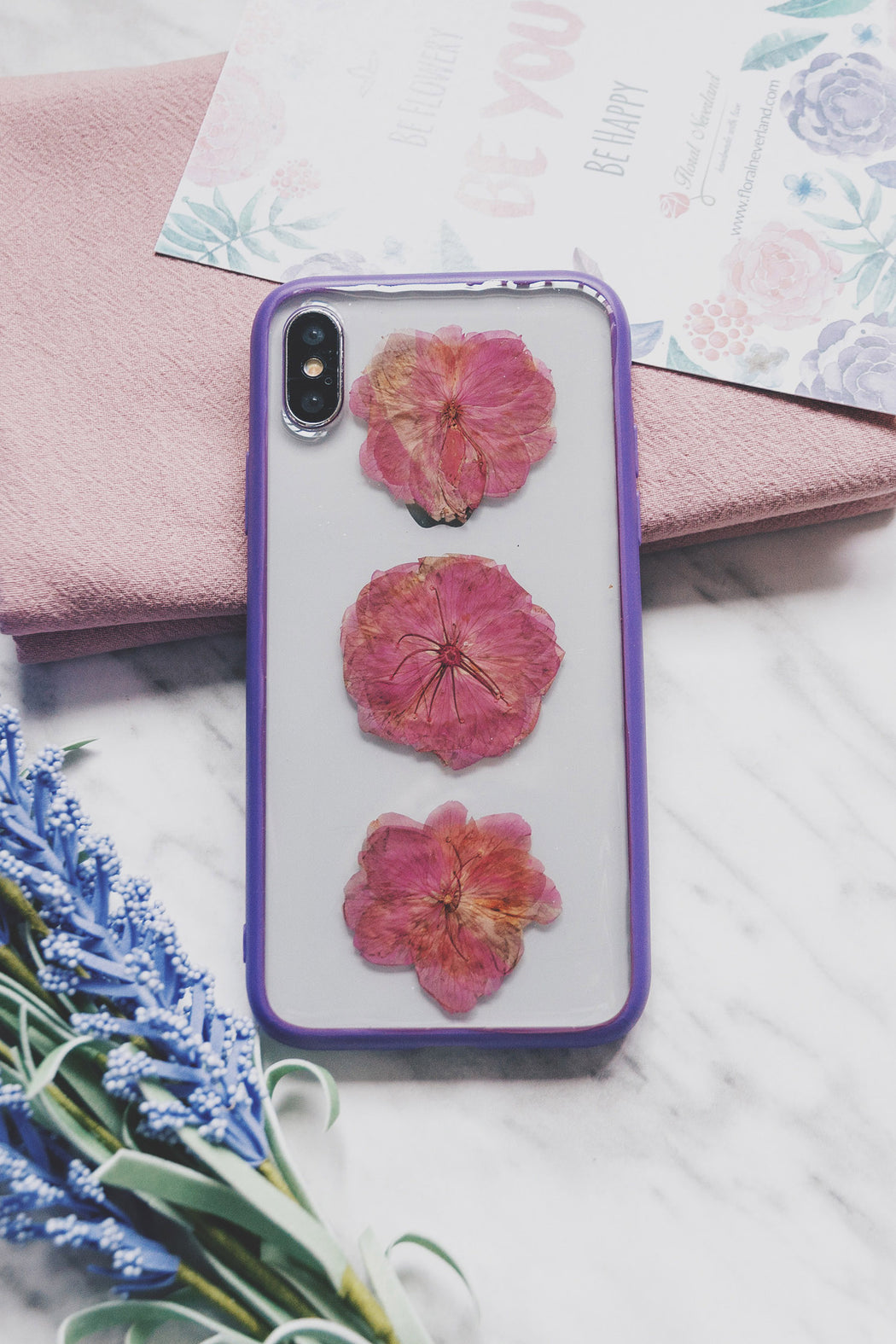 pressed cherry blossom flower cute protective floral iphone x xs bumper case magenta floral neverland floralfy