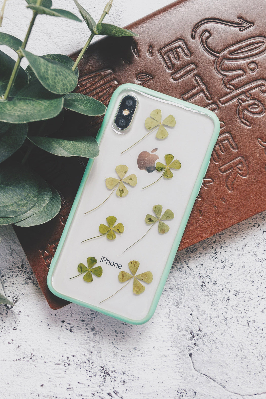 pressed flower green fern leaf cute protective floral iphone 6 6s plus bumper case moss floral neverland floralfy