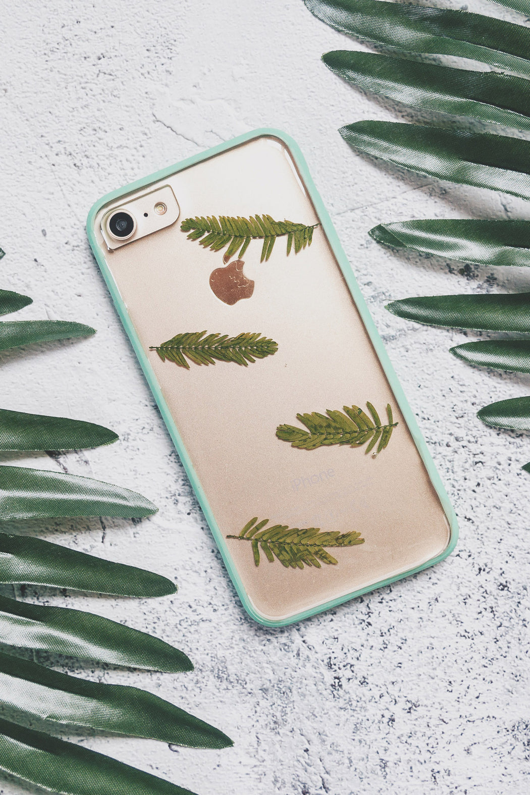 pressed flower green fern leaf cute protective anti drop floral iphone 7 8 bumper case lime floral neverland floraly