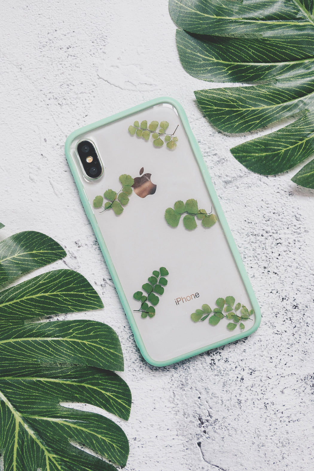 pressed flower green fern leaf cute protective anti drop floral iphone 7 8 bumper case olive floral neverland floraly