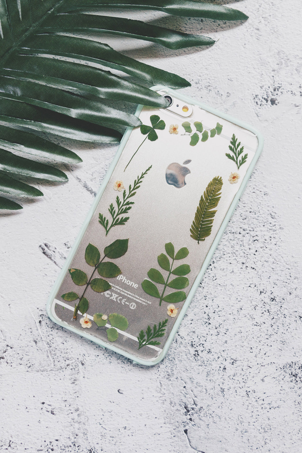 pressed flower green fern leaf cute protective floral iphone 6 6s plus bumper case forest mix floral neverland floraly