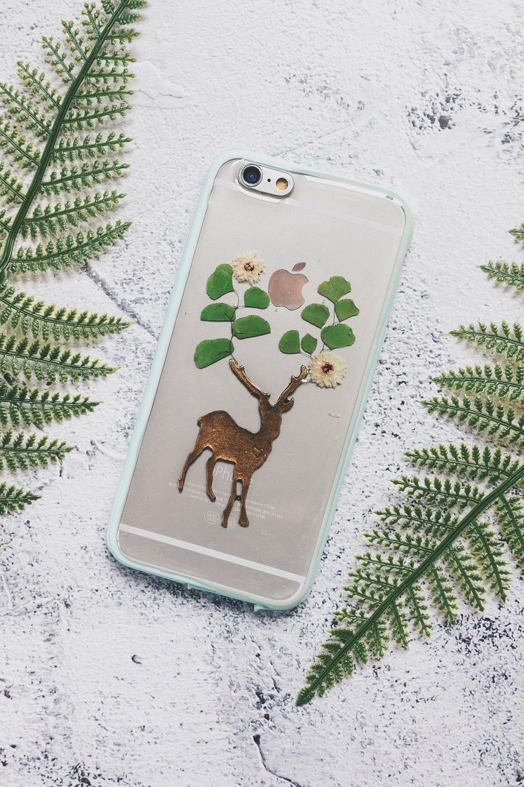 pressed flower green fern leaf floral cute protective iphone 6 6s bumper case secret forest floral neverland floralfy