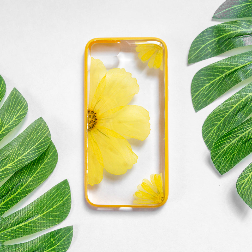 pressed sun flower floral iphone 7 8 bumper case cute protective sunshine coast floral neverland floralfy