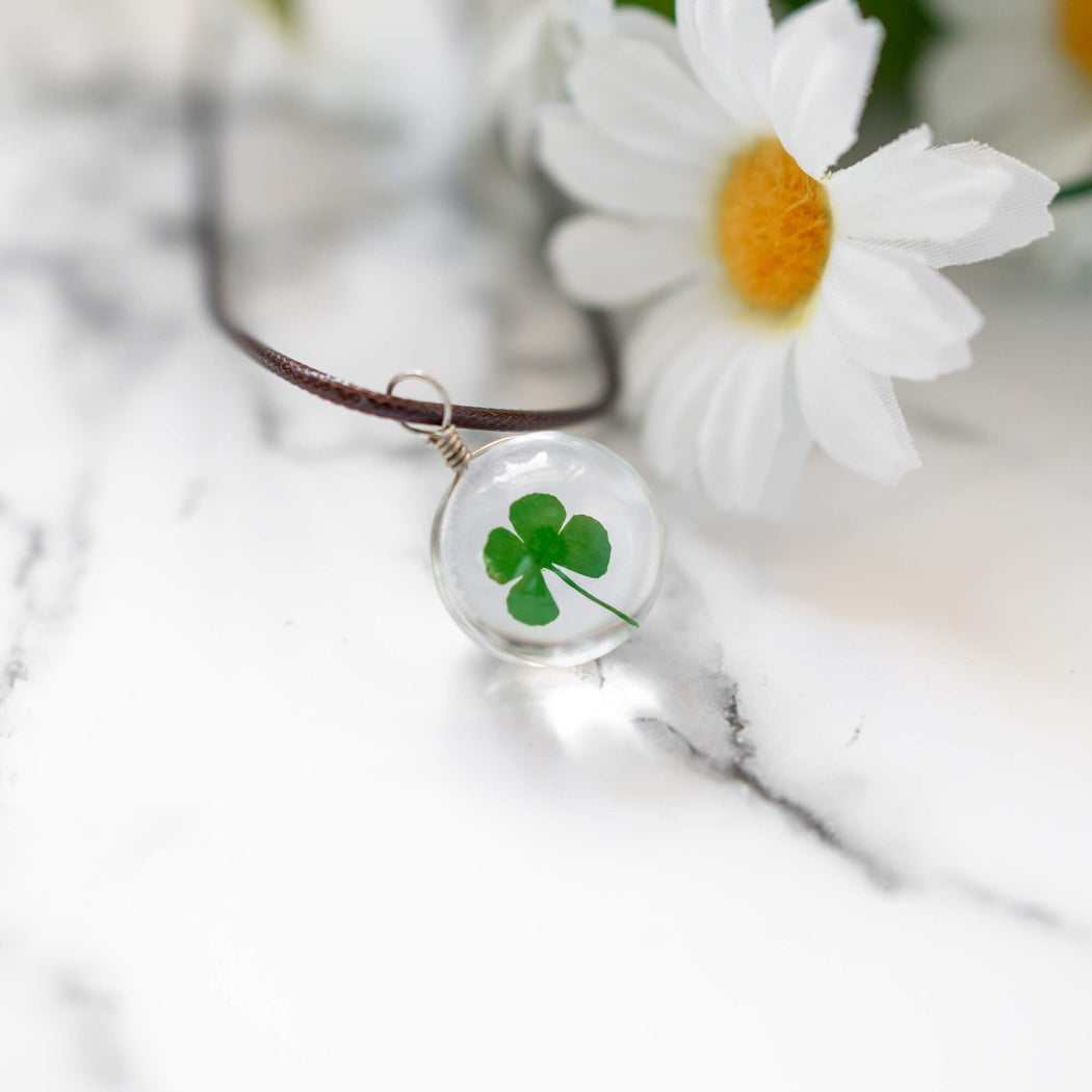 Real Pressed Four Leaf Clover Necklace