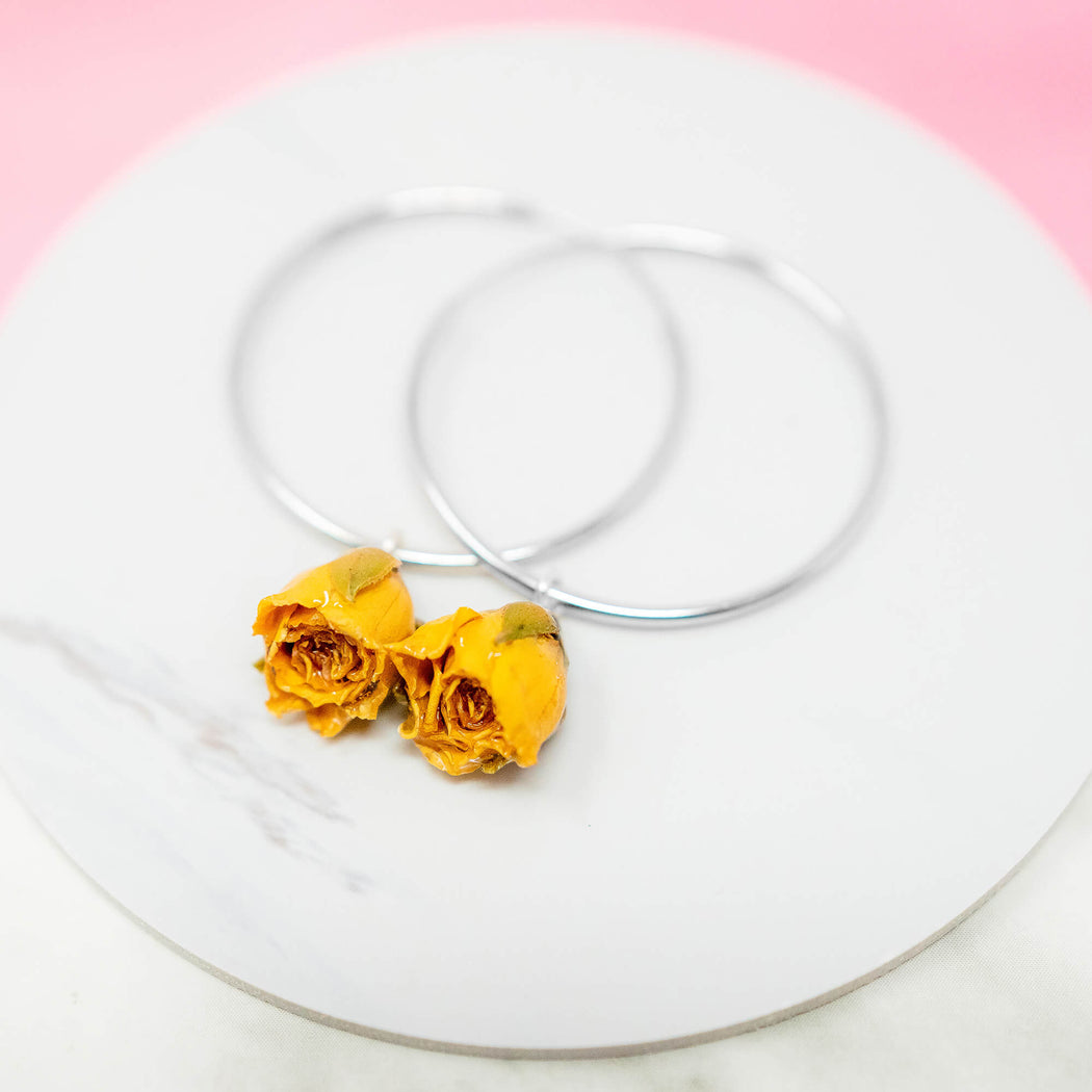 Real Yellow Rose Hoop Earrings, Real Flower Jewelry, 925 Sterling Silver