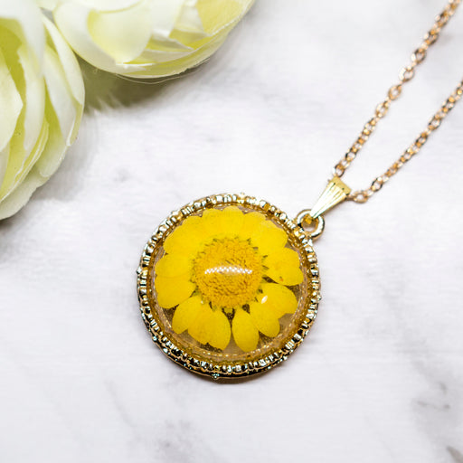 Real Daisy Flower Necklace, Real Flower Jewelry, Gold Plated Flower Pendant