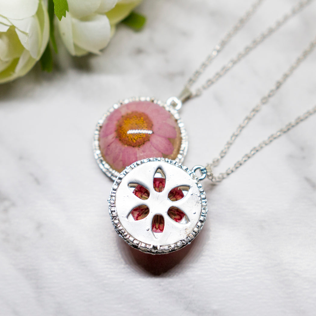 Real Daisy Flower Necklace, Real Flower Jewelry, Silver Plated Plated Flower Pendant