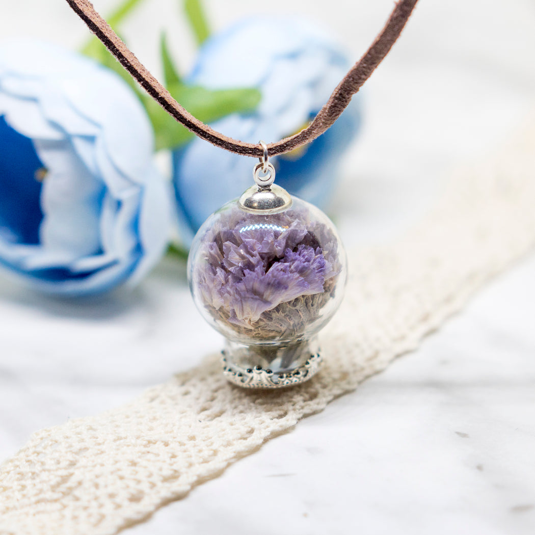 Real Dried Forget Me Not Flower Glass Orb Terrarium Nature Pendant Leather Chain Necklace, Glass Vial Lucky Charm
