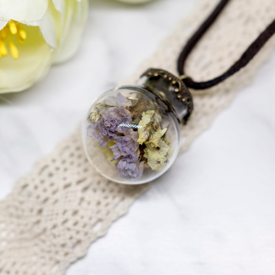 Real Dried Flower Glass Orb Terrarium Nature Pendant Leather Chain Necklace, Real Flower Jewelry, Glass Vial Lucky Charm Necklace