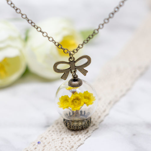 Real Dried Turquoise Flower Glass Orb Terrarium Nature Pendant Vintage Necklace, Real Flower Jewelry, Glass Vial Lucky Charm Necklace