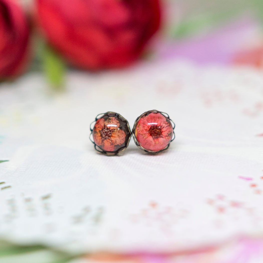 Real Plum Flower Stud Earrings, Real Flower Jewelry, Vintage Earrings