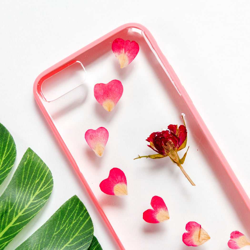 Rosy Hearts | Pressed Flower iPhone Bumper Case | iPhone 7/8