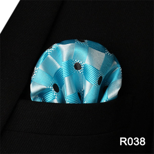 af68153c13e53 Check Polka Dot Paisley Floral Stripe Men Silk Satin Pocket Square Hanky  Jacquard Woven Classic Wedding