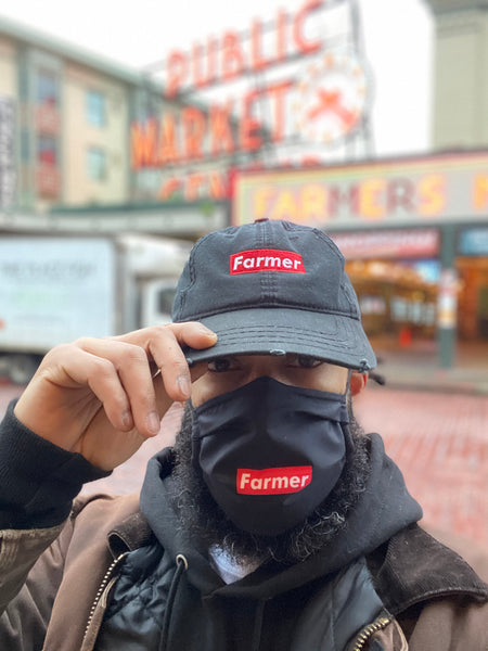'Farmer' Collection Red Box Logo Distressed Dad Hat
