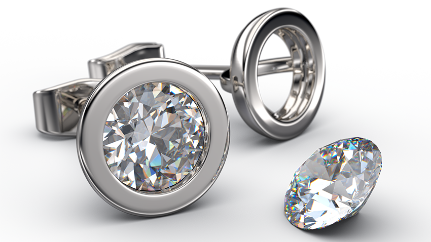 Bezel Rub-over Diamond Stud Earrings | Australian Diamond Network