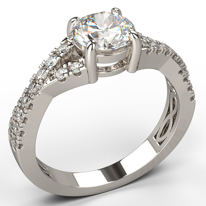 4 claw engagement ring with bypass diamond band white gold - Australian Diamond Network
