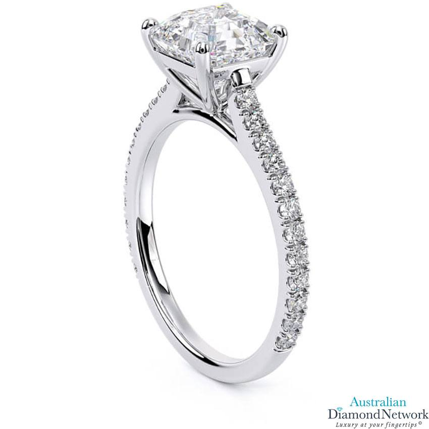 Asscher Cut diamond cathedral engagement ring in white gold – Australian Diamond Network