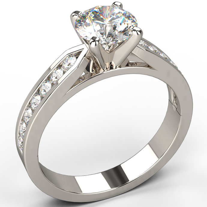 18k white gold channel set diamond engagement ring - Australian Diamond Network
