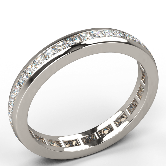 channel set princess cut diamond eternity ring white gold - Australian Diamond Network