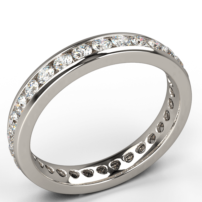 channel set round brilliant diamond eternity ring 18k gold - Australian Diamond Network