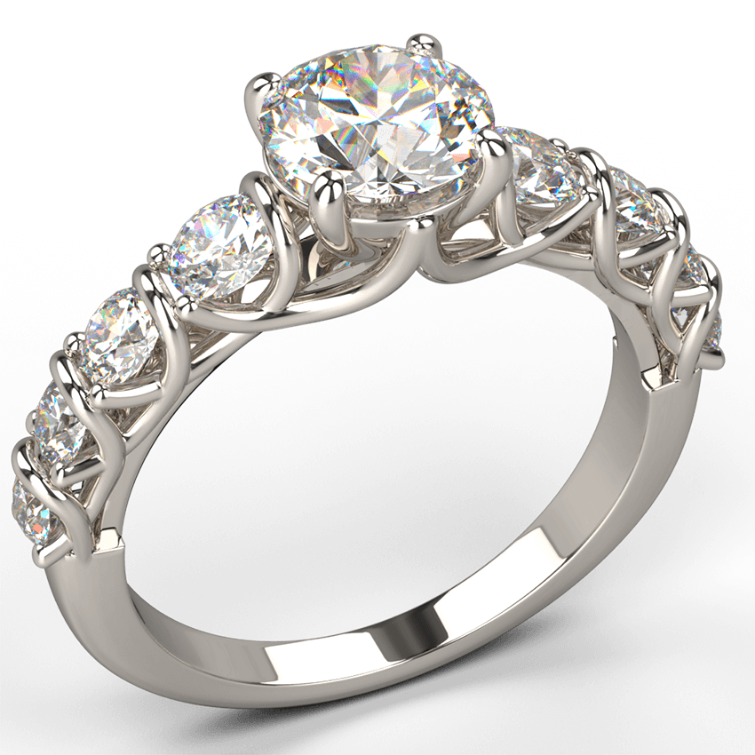 crossover diamond engagement ring in white gold - Australian Diamond Network