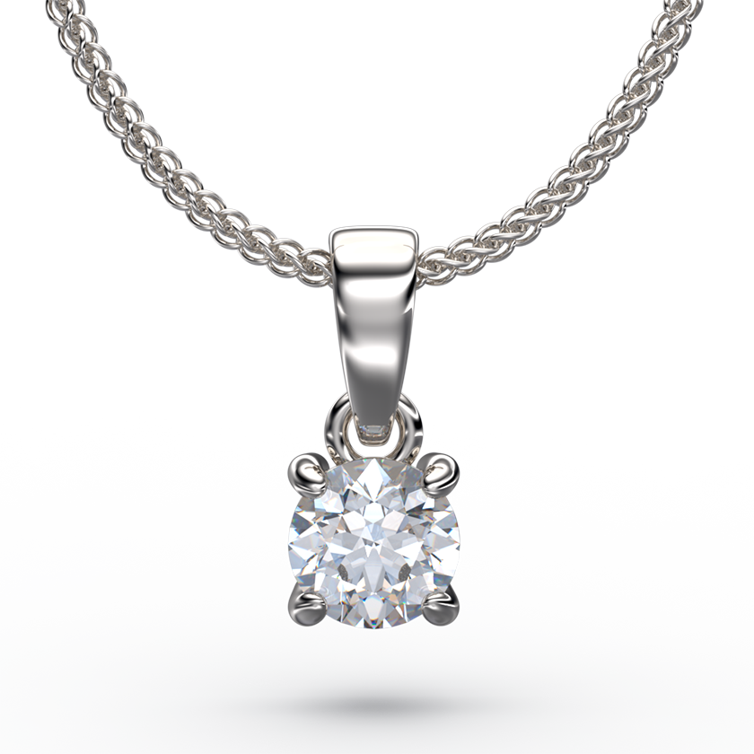 Classic 4 Claw Solitaire Diamond Pendant Necklace - Australian Diamond Network