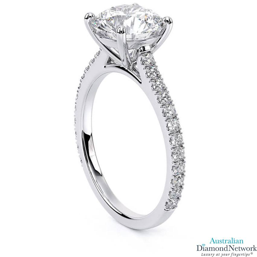 Classic cathedral diamond engagement ring in white gold – Australian Diamond Network