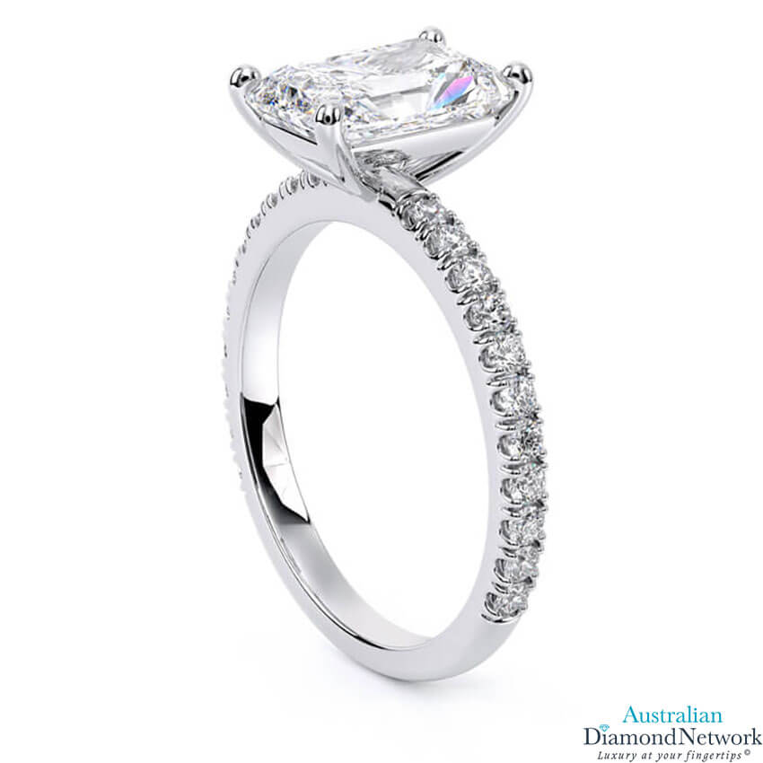 Classic Radiant Cut Pavé Diamond Engagement Ring in 18k White Gold – Australian Diamond Network
