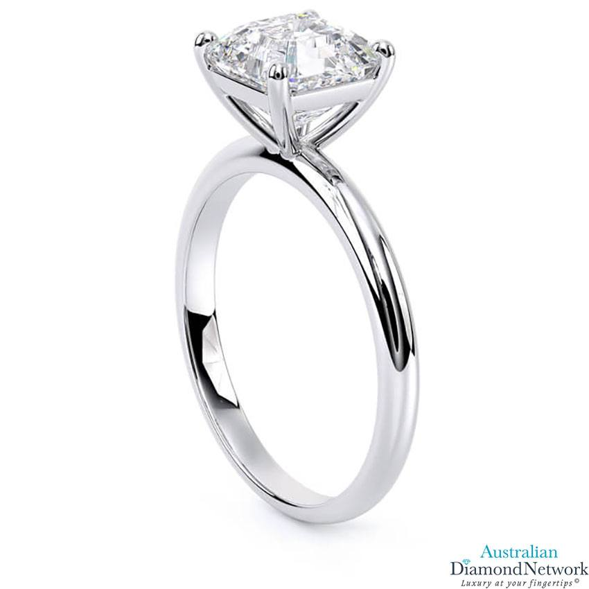 Comfort fit 4 claw asscher cut solitaire diamond ring in white gold – Australian Diamond Network