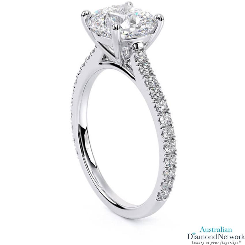 Cushion Cut diamond cathedral engagement ring in white gold – Australian Diamond Network