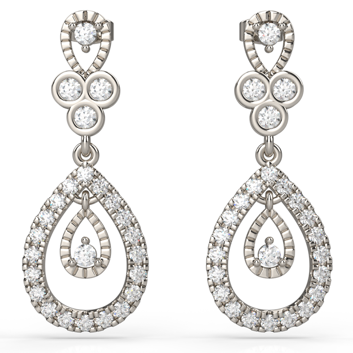 Diamond Earrings With Teardrop-Shaped Design - Australian Diamond Network