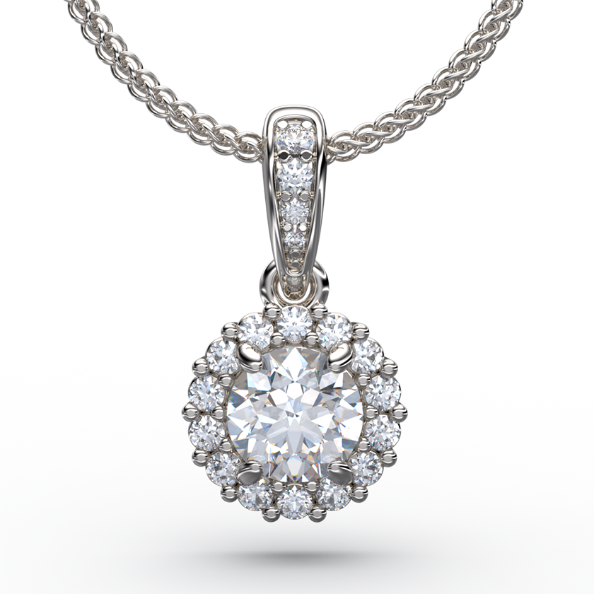 Diamond Solitaire Pendant Necklace With Halo and Gold Chain - Australian Diamond Network