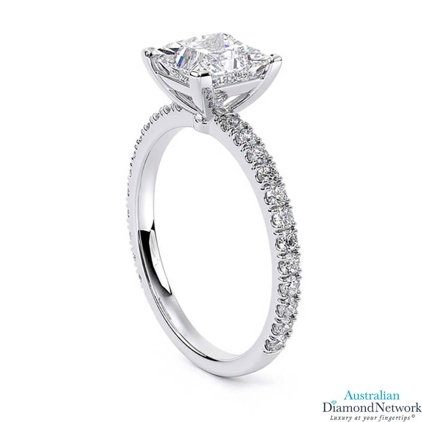 Delicate 'Liat' Princess Cut Diamond Engagement Ring in 18k White Gold – Australian Diamond Network