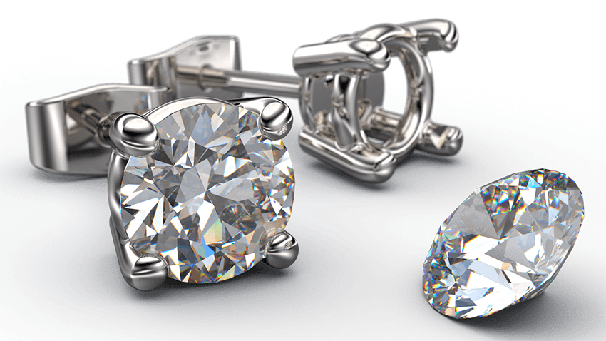 classic 4 claw basket style lab grown diamond stud earrings - Australian Diamond Network
