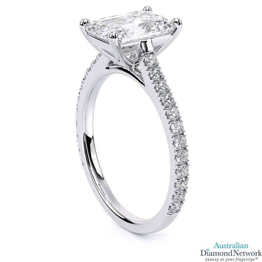 Emerald Cut diamond cathedral engagement ring in white gold – Australian Diamond Network