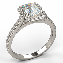 emerald cut halo diamond engagement ring white gold - Australian Diamond Network