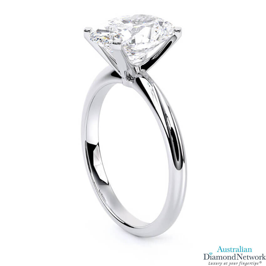 Knife-edge solitaire oval diamond engagement ring in white gold – Australian Diamond Network