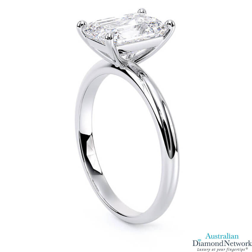 Solitaire emerald cut diamond engagement ring in white gold – Australian Diamond Network
