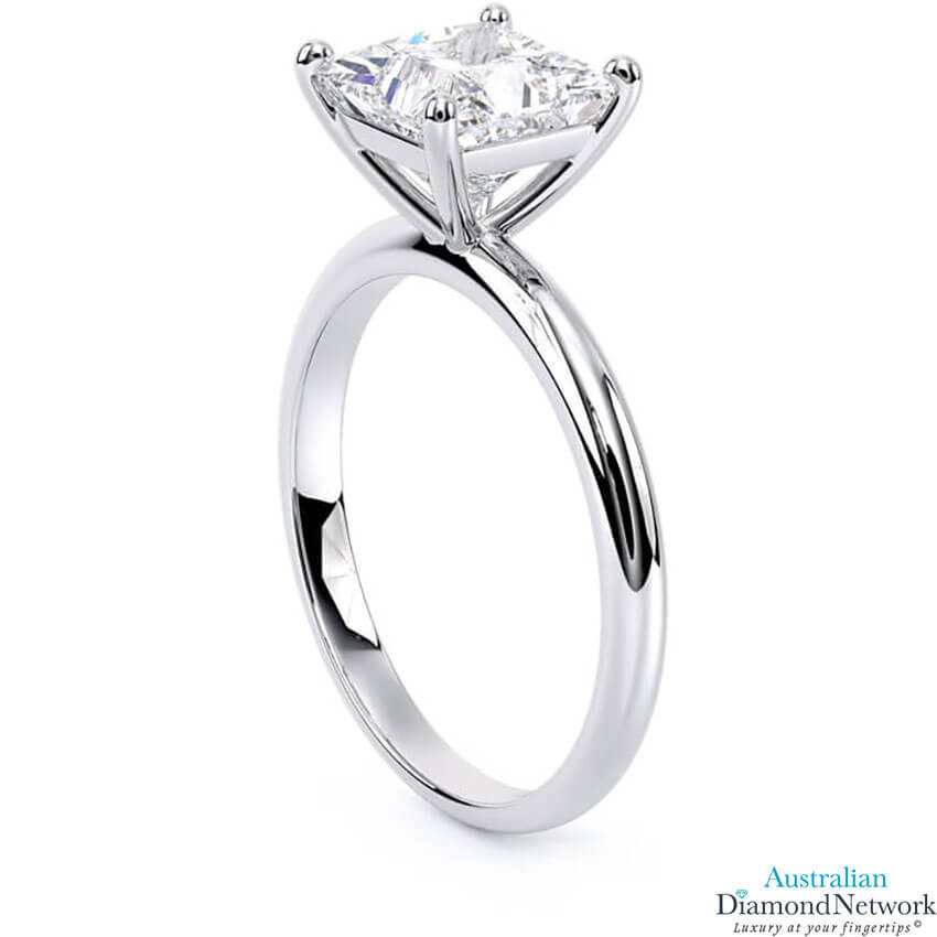 Solitaire princess cut diamond engagement ring in white gold – Australian Diamond Network