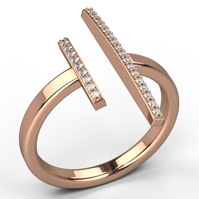 parallel bar diamond dress ring