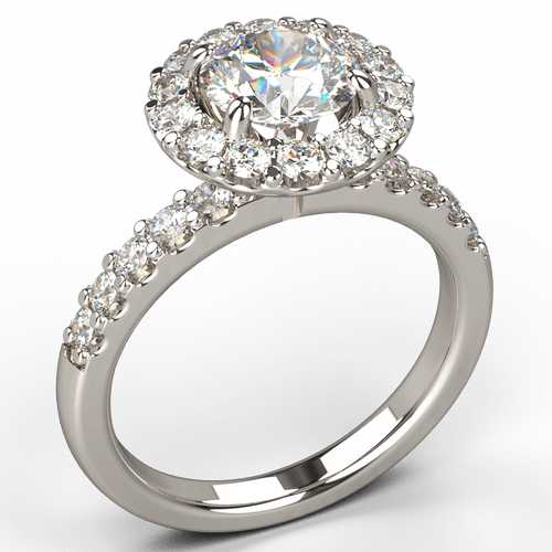Petite Diamond Halo Engagement Ring - Australian Diamond Network