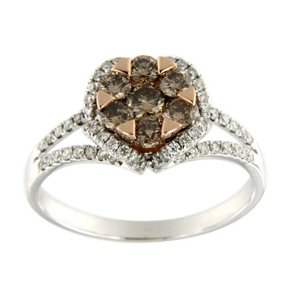 champagne diamond and white diamond ring in 14k two tone gold
