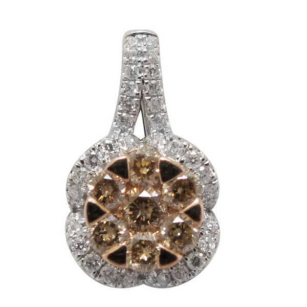 panache champagne and white diamond pendant necklace