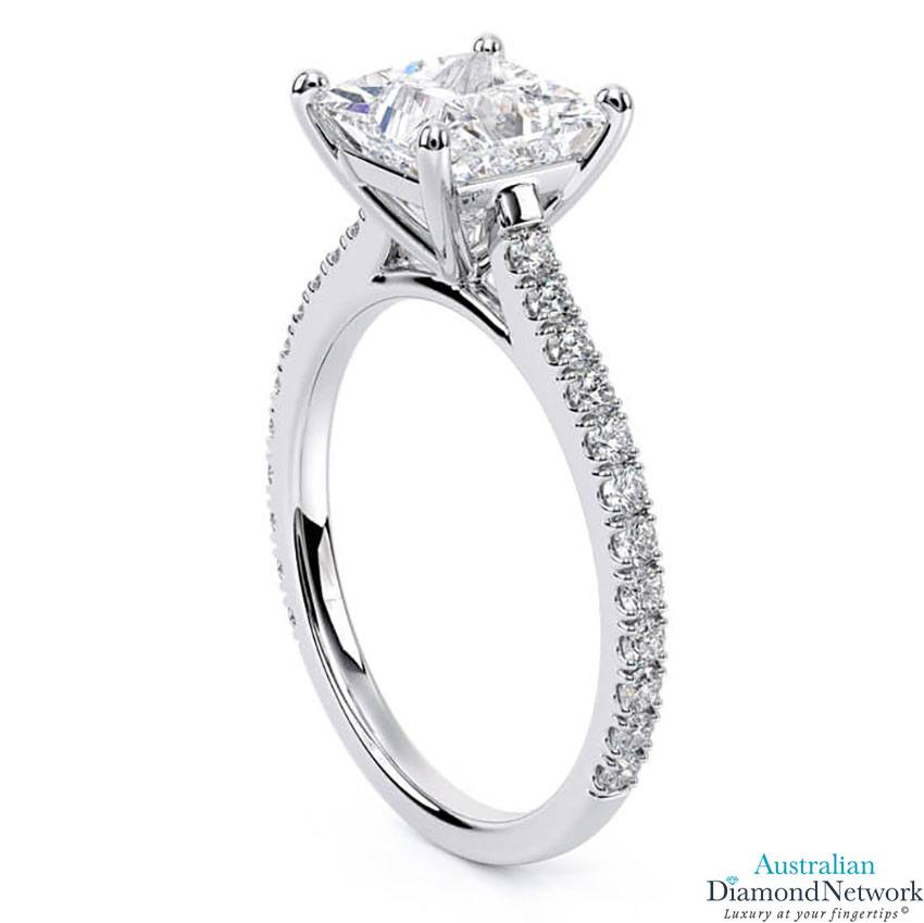 Princess Cut diamond cathedral engagement ring in white gold – Australian Diamond Network