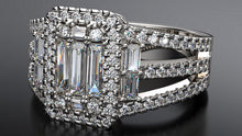 Split Band Baguette Engagement Ring - Australian Diamond Network
