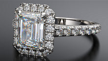 platinum emerald cut halo diamond engagement ring - Australian Diamond Network
