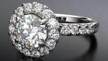petite diamond halo engagement ring in platinum - Australian Diamond Network