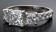 Princess Cut Diamond Trio Engagement Ring - Australian Diamond Network
