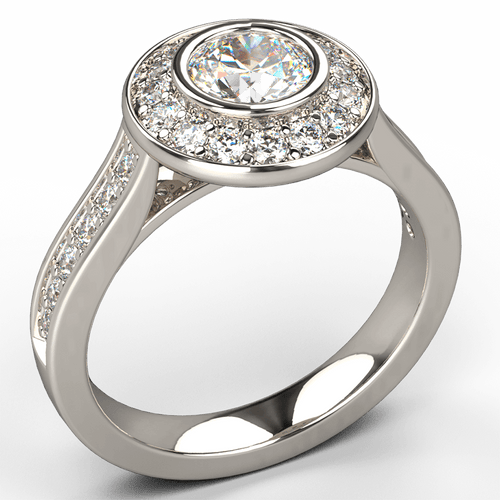 Rub-Over Halo Diamond Engagement Ring - Australian Diamond Network
