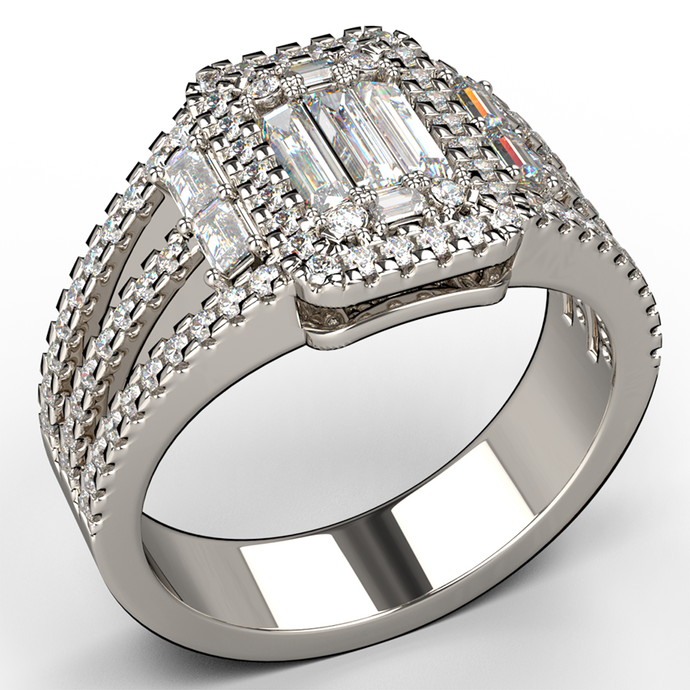 split band baguette engagement ring